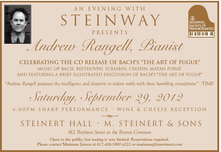 Steinway Artist Andrew Rangell at Steinert Hall!