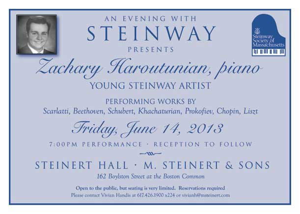 Video of Young Steinway Artist Zachary Haroutunian's Steinert Hall Recital