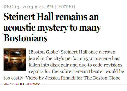 Steinert Hall in the Boston Globe