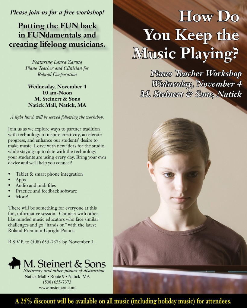 Piano Teacher Workshop Evite Natick Nov15