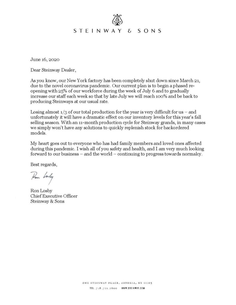 Letter from Ron Losby CEO Steinway Musical Properties