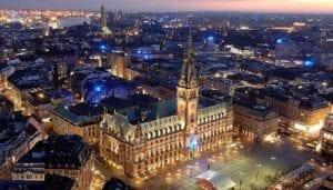 Photo of downtown Hamburg, Germany at night.