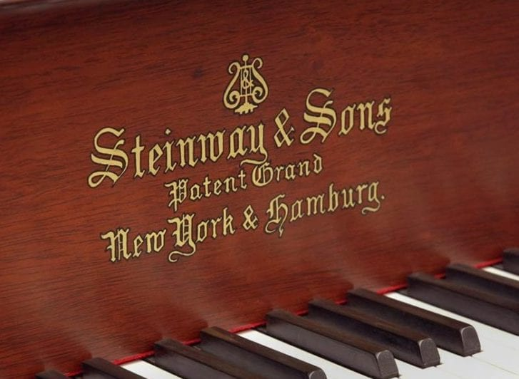 New York and Hamburg divisions noted on Steinway piano