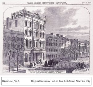 Sketch of the original Steinway Hall in New York City