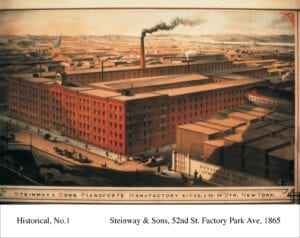 Colored sketch of Steinway's former New York factory, circa 1865