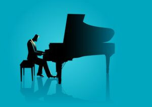 Sketch of pianist playing when blue background