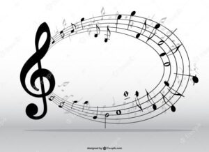 Graphic of treble clef and musical notes in a circle