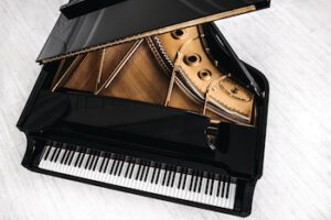 Aerial view of Steinway grand piano